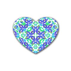 Stylized Floral Check Seamless Pattern Heart Coaster (4 Pack)  by dflcprints
