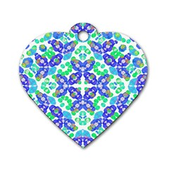 Stylized Floral Check Seamless Pattern Dog Tag Heart (two Sides) by dflcprints