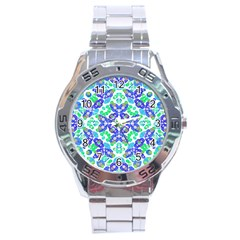 Stylized Floral Check Seamless Pattern Stainless Steel Analogue Watch by dflcprints