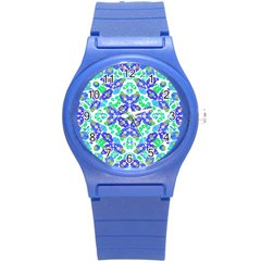 Stylized Floral Check Seamless Pattern Round Plastic Sport Watch (s) by dflcprints