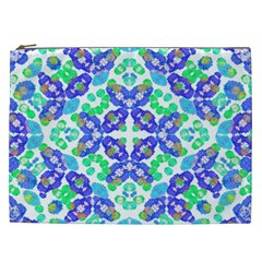 Stylized Floral Check Seamless Pattern Cosmetic Bag (xxl)  by dflcprints