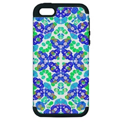 Stylized Floral Check Seamless Pattern Apple Iphone 5 Hardshell Case (pc+silicone) by dflcprints