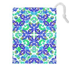 Stylized Floral Check Seamless Pattern Drawstring Pouches (xxl) by dflcprints