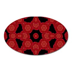 Stylized Floral Check Oval Magnet by dflcprints