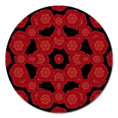 Stylized Floral Check Magnet 5  (round) by dflcprints
