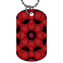 Stylized Floral Check Dog Tag (one Side) by dflcprints