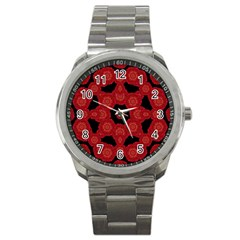 Stylized Floral Check Sport Metal Watch by dflcprints