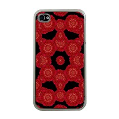 Stylized Floral Check Apple Iphone 4 Case (clear) by dflcprints