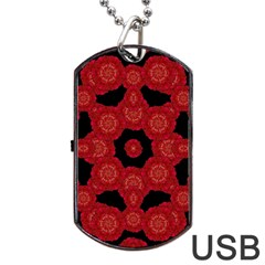 Stylized Floral Check Dog Tag Usb Flash (two Sides)  by dflcprints