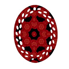 Stylized Floral Check Oval Filigree Ornament (2 Side)  by dflcprints