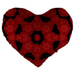 Stylized Floral Check Large 19  Premium Flano Heart Shape Cushions by dflcprints