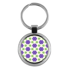 Purple Flowers Pattern        			key Chain (round) by LalyLauraFLM