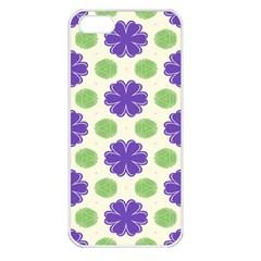 Purple Flowers Pattern        apple Iphone 5 Seamless Case (white) by LalyLauraFLM