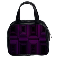 Purple Black Rectangles         Classic Handbag (two Sides) by LalyLauraFLM