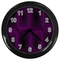 Purple Black Rectangles         wall Clock (black) by LalyLauraFLM