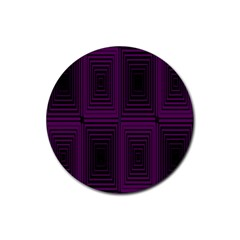 Purple Black Rectangles         			rubber Coaster (round) by LalyLauraFLM