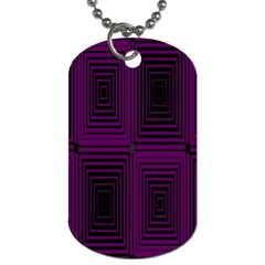 Purple Black Rectangles         			dog Tag (one Side) by LalyLauraFLM