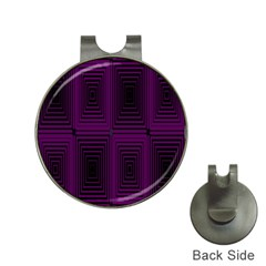 Purple Black Rectangles         			golf Ball Marker Hat Clip by LalyLauraFLM