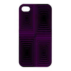 Purple Black Rectangles         Apple Iphone 4/4s Hardshell Case by LalyLauraFLM