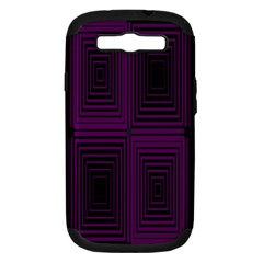 Purple Black Rectangles         			samsung Galaxy S Iii Hardshell Case (pc+silicone) by LalyLauraFLM