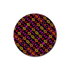 Stylized Floral Stripes Collage Pattern Rubber Round Coaster (4 Pack)  by dflcprints