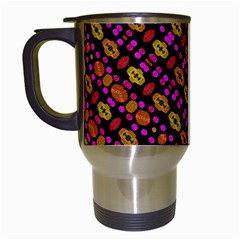 Stylized Floral Stripes Collage Pattern Travel Mugs (white) by dflcprints
