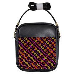 Stylized Floral Stripes Collage Pattern Girls Sling Bags by dflcprints