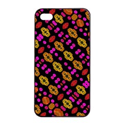 Stylized Floral Stripes Collage Pattern Apple Iphone 4/4s Seamless Case (black) by dflcprints