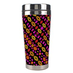 Stylized Floral Stripes Collage Pattern Stainless Steel Travel Tumblers by dflcprints