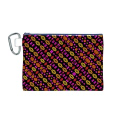 Stylized Floral Stripes Collage Pattern Canvas Cosmetic Bag (m) by dflcprints