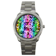 Multicolor Geometric Grunge Sport Metal Watch by dflcprints