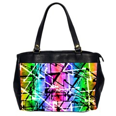 Multicolor Geometric Grunge Office Handbags (2 Sides)  by dflcprints
