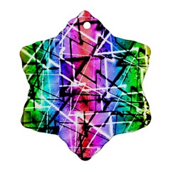 Multicolor Geometric Grunge Ornament (snowflake)  by dflcprints
