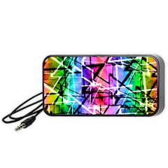 Multicolor Geometric Grunge Portable Speaker (black)  by dflcprints