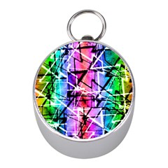 Multicolor Geometric Grunge Mini Silver Compasses by dflcprints