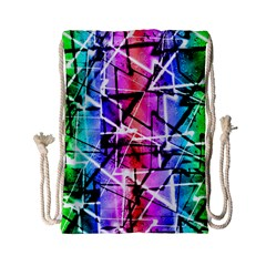 Multicolor Geometric Grunge Drawstring Bag (small) by dflcprints