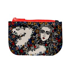 Woman In Flowers Coin Change Purse by DryInk