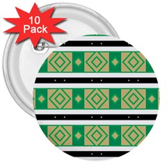 Green Rhombus And Stripes           3  Button (10 Pack) by LalyLauraFLM