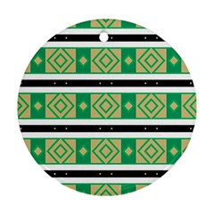 Green Rhombus And Stripes           			ornament (round) by LalyLauraFLM