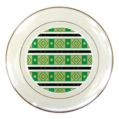 Green rhombus and stripes           			Porcelain Plate by LalyLauraFLM