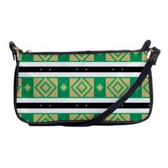 Green Rhombus And Stripes           shoulder Clutch Bag by LalyLauraFLM