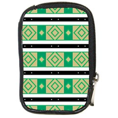 Green Rhombus And Stripes           compact Camera Leather Case by LalyLauraFLM