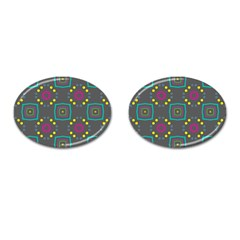 Squares And Circles Pattern 			cufflinks (oval) by LalyLauraFLM