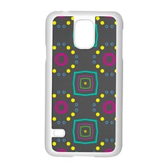 Squares And Circles Pattern samsung Galaxy S5 Case (white) by LalyLauraFLM