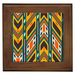 Distorted shapes in retro colors   			Framed Tile by LalyLauraFLM