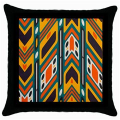 Distorted Shapes In Retro Colors   throw Pillow Case (black) by LalyLauraFLM