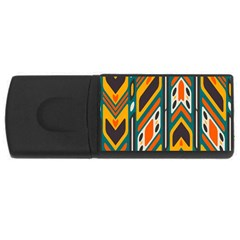 Distorted Shapes In Retro Colors   			usb Flash Drive Rectangular (4 Gb) by LalyLauraFLM