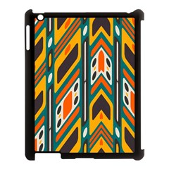 Distorted Shapes In Retro Colors   			apple Ipad 3/4 Case (black) by LalyLauraFLM