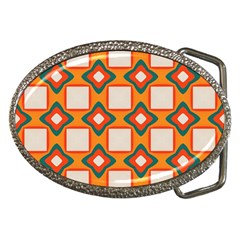 Flowers And Squares Pattern     			belt Buckle