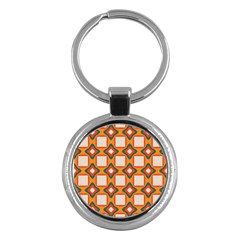 Flowers And Squares Pattern     key Chain (round) by LalyLauraFLM